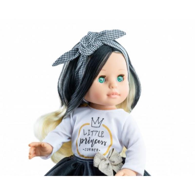 Кукла Паола Рейна - Бианка в черно-белом платье с клетчатой повязкой